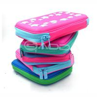 High Quality PU Leather Hard Pencil Case With Zipper / Custom Pen Bags with Embossed Logo