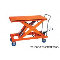 China Flexible Double Scissor Hand Lift Table Steering Mechanical , Casters With Brakes wholesale