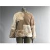 China Beige Short Ladies Fake Fur Coats , Faux Fur Tan Teddy Fur Combo Coat wholesale