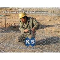 China Custom Gabion Stone Cages Hexagonal Wire 80 x 100MM For Protection Engineering wholesale