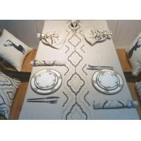 China Country Style Geometric Decorative Table Cloths Embroidered Linen Cotton Material wholesale