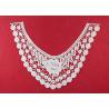 China French Venice Guipure Lace Neck Applique With Chemical Poly Milk Silk / Neckline Applique Trim wholesale