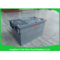 China Customzied Plastic Moving Boxes For Warehouse , Attached Lid Totes wholesale