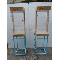 China Shops Lighting Acrylic Wooden Sunglasses Display Stand With Blue Metal Rack wholesale