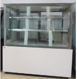 China 2m Vertical Back Sliding Door Cake Display Freezer 2shelves Tough Glass wholesale