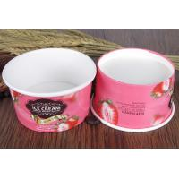 China Pink Paper Ice Cream Sundae Cups , Vegetables Paper Salad Bowls Eco Friendly on sale