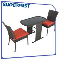 China Black Compact 3pc Resin Wicker Patio Furniture Set with Seat Cushion on sale