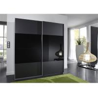 China Black Glass Sliding Wardrobe Lacquer High Gloss Painting Wooden Bedroom Furniture 2.3 Meters Height on sale