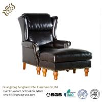 Buy cheap Black Leather Lounge Chair With Ottoman Wood / Metal Frame Wingback from wholesalers