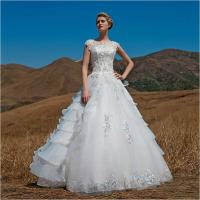 OEM Graceful Short Sleeve illusion neckline puffy Wedding Dresses Beaded