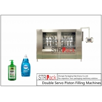 China Double Servo Piston Liquid Filling Machine For Liquid Products sauces, salad dressings, cosmetic products, liquid soaps, wholesale