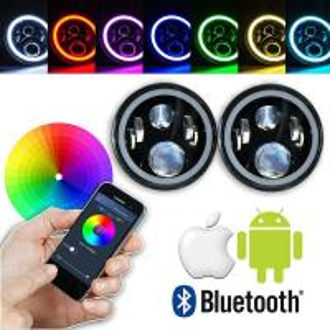 China 7 Inch Round RGB LED Headlights Bluetooth Phone APP Control High Low Beam wholesale