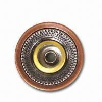 China 16.7mm 2-tone Open Top Jeans Button, Customized Designs and Sizes are Accepted, Made of Brass wholesale