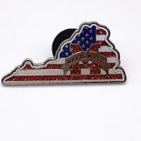 China 1.5 Inch Metal Plated Die Struck Enamel Pins , Brass Material Glitter Safety Pins wholesale