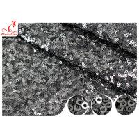 China Shiny Embroidered Black Sequin Mesh Fabric For Party Evening Dress R&D Available wholesale