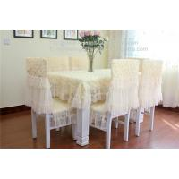 China Rosette lace wedding tablecloths and chair covers with 3D raised roses, on sale