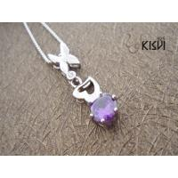 China Fashion Jewelry 925 Sterling Silver Gemstone Pendant 1.8g with Purple Zircon W-VB919 wholesale