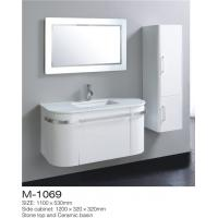 China LED Mirror Wall Hung Bathroom Vanity , White Bathroom Vanity With Side Cabinet wholesale
