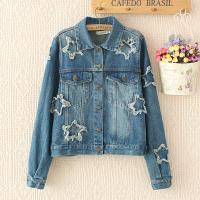 China Printed Star Womens Denim Cardigan Jackets Single Breasted Short Outwear wholesale