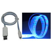 China Clear Flat Glowing in Multicolor Optical USB Cable for iphone5 wholesale