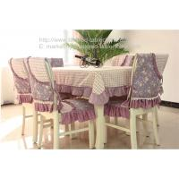 China 70 inch oblong polyester tablecloths and quilted chair covers for dining table, wholesale