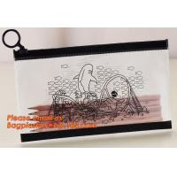 China A4 clear plastic pp document carrying file folder zipper lock pocket bag with small button file wallet wholesale