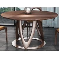China Nordic style Living room Furniture Walnut Wooden Circular Dining table in Special design Legs and Stainless steel plate wholesale