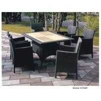 China Teak table top with 4 wicker dining chair set -8186 wholesale