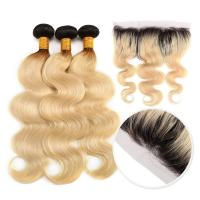 China 10A Grade 100% Peruvian Ombre Human Hair Extensions 1B / 613 Blonde Color wholesale