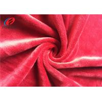 China Red Spandex Velvet Fabric For Blanket , Elastic 4 Way Stretch Polyester Fabric on sale
