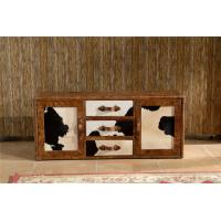 Buy cheap Vintage Milk Cow Leather TV Stand Plywood Frame With Buffer Guide Drawers from wholesalers