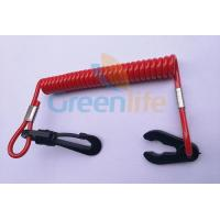 China Plastic Spiral Safety Floating Watercraft Lanyard Tether Solid Red color with Black Snap Hook&Key wholesale