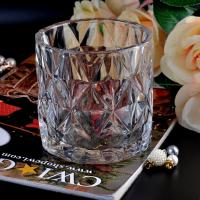 China Clear contemporary glass candle holders diamond pattern design Bottom dia 98mm wholesale