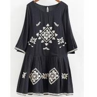 China A Line Neckline Black Floral Embroidered Midi Dress , Flower Embroidered Dress wholesale