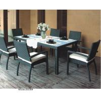 China 7-piece synthetic rattan wicker outdoor glass top dining table with 6 armchairs-8008 wholesale