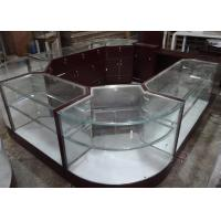 China Crystal Tempered Glass Jewelry Kiosk Furniture Full View Round Shape With Lights wholesale