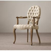 China Tufted Round Arm Fabric Covered Leather Dining Chair , Elegant / Zebra Print Dining Chairs wholesale