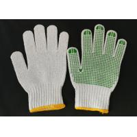 China Polyester Knitted Safety Hand Gloves ,  Knit Work Gloves Green PVC Dotted Grips wholesale