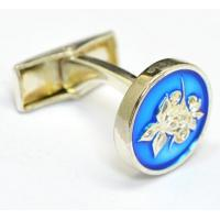 China Round Metal Cuff Links with Epoxy Screen printing Enamel and customer Logo design wholesale