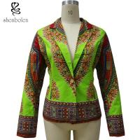 China OEM Service Dashiki African Print Tops Jackets For Spring / Autumn Green Color wholesale
