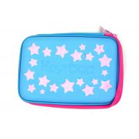 China Multi Functional Custom Pencil Case Hard With EVA Plate Materials , Blue Color wholesale
