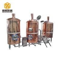 Quality 10HL Red Copper Beer Brewing Kit , Electric / Steam Heated Beer Fermentation Equipment for sale