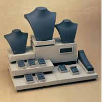 China Cream Black Combination Jewelry Display Stands Set MDF with leatherette wholesale