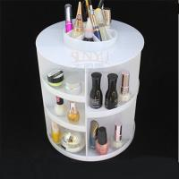 China White Acrylic Cosmetic Counter Display Stands PMMA Cylindrical More Compartments wholesale