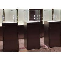 Quality Simple Modern Custom Glass Display Cases Matte Black Painting Plinth Size 450X450X1350MM for sale