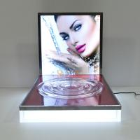 China LED Luminous Acrylic Counter Display Stands Striped Surface For Beauty Products wholesale