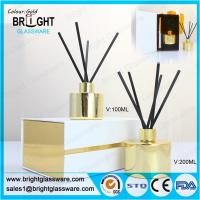 China high quality glass gold reed diffuser bottle with gift box wholesale