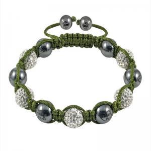 China DIY Low MOQ Shamballa CZ rhinestone beads Green Rope Crystal Bangle Bracelets wholesale