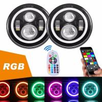 China Diecast Aluminum 40W Jeep Wrangler Headlights With RGB Bluetooth Controller wholesale