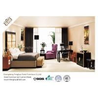China Ebony Wooden Finished Hotel Bedroom Furniture With Fabric Chaise Lounge Chair wholesale